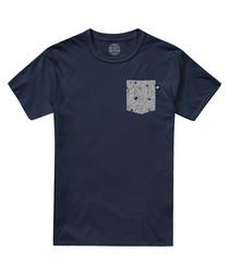 Navy pure cotton print pocket T-shirt