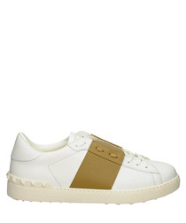 Men's white & gold leather sneakers