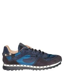 Men's blue & black leather sneakers