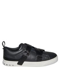 Men's black leather strap sneakers