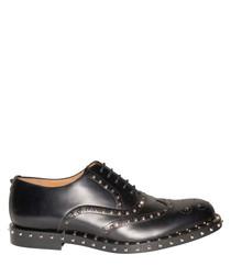 Men's black studded lace-up shoes