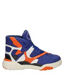 Men's blue & orange lace hi-top sneakers