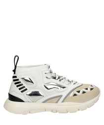 Men's white leather lace-up sneakers