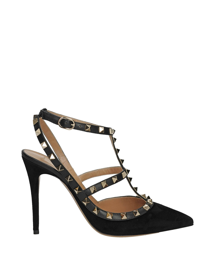 Women's Rockstud black leather heels Sale - valentino