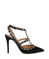 Women's Rockstud black leather heels