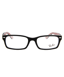 Rectangle black & white frame glasses