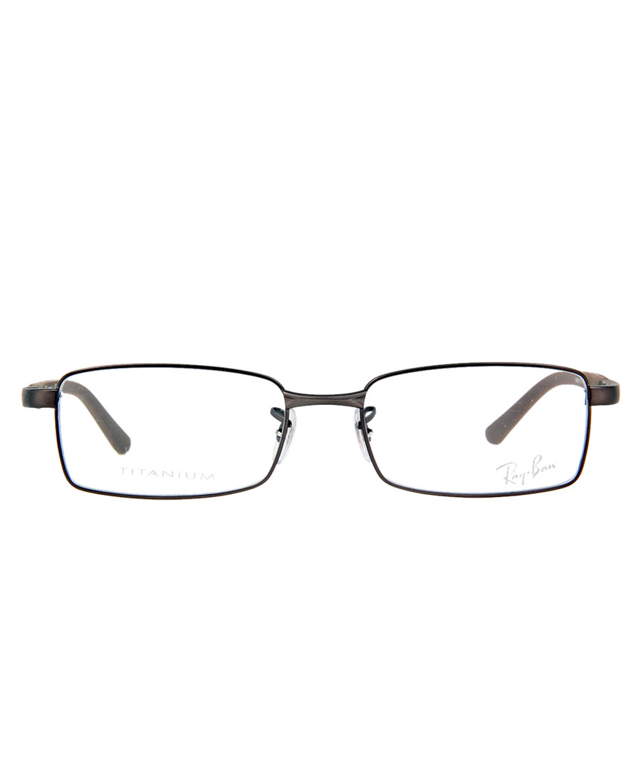 Rectangle gunmetal thin frame glasses Sale - ray-ban