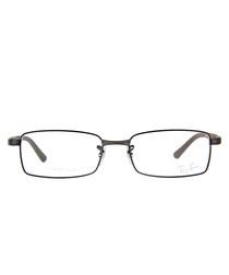Rectangle gunmetal thin frame glasses