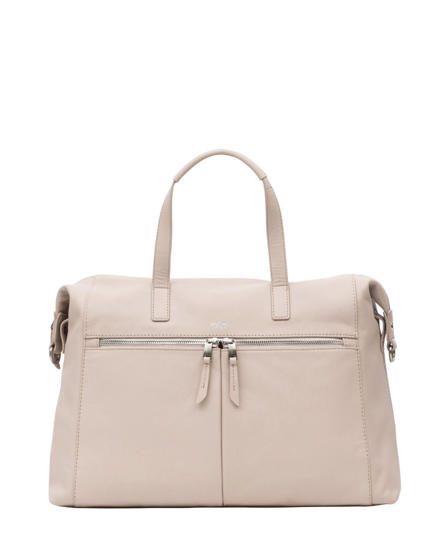 Cream leather zip-front grab bag Sale - knomo