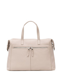 Cream leather zip-front grab bag