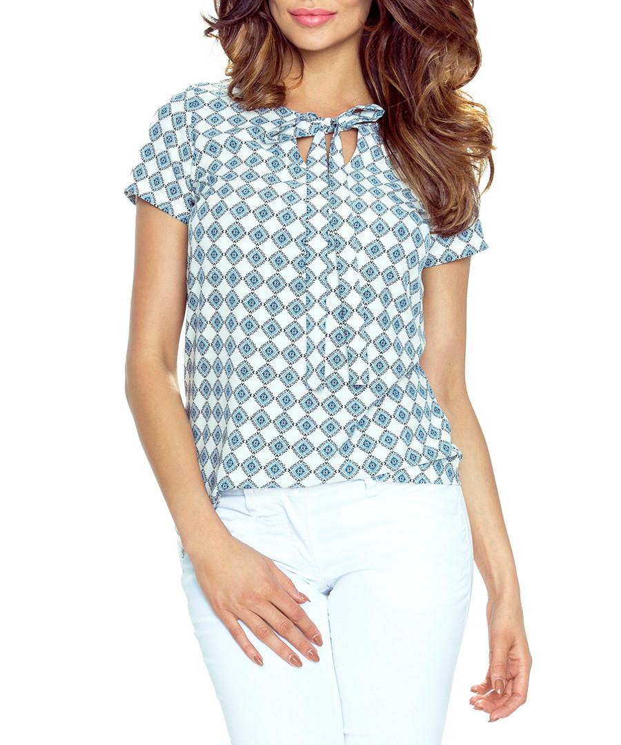 Teal & white neck-tie blouse Sale - bergamo