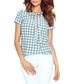 Teal & white neck-tie blouse Sale - bergamo Sale