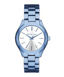 Slim Runway blue stainless steel watch