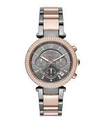 Parker grey & rose gold steel watch