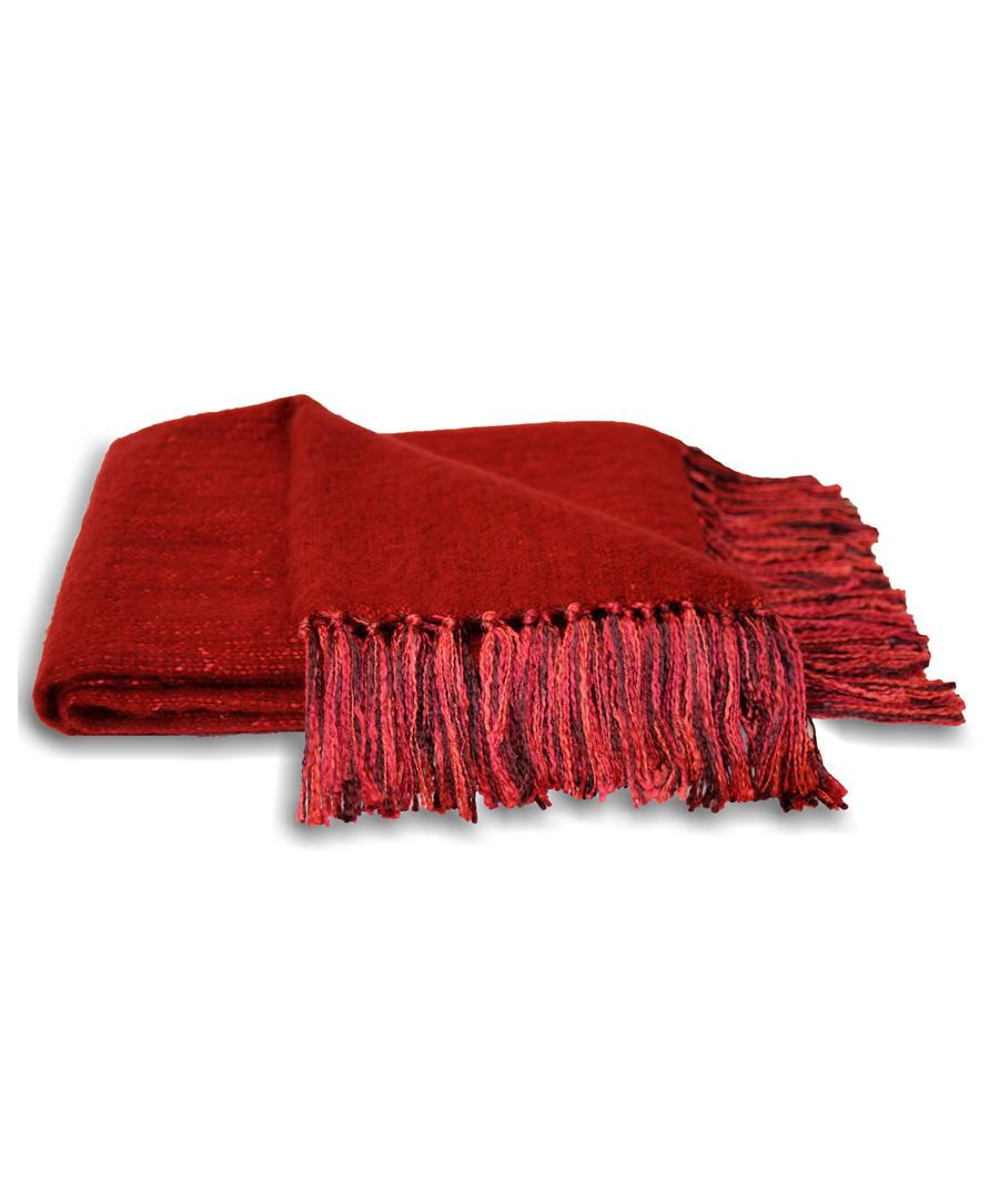 Chiltern red tassel throw 127 x 180cm Sale - riva paoletti
