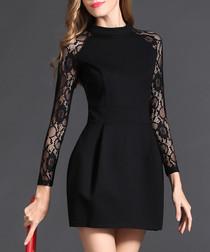 Black sheer printed sleeve dress