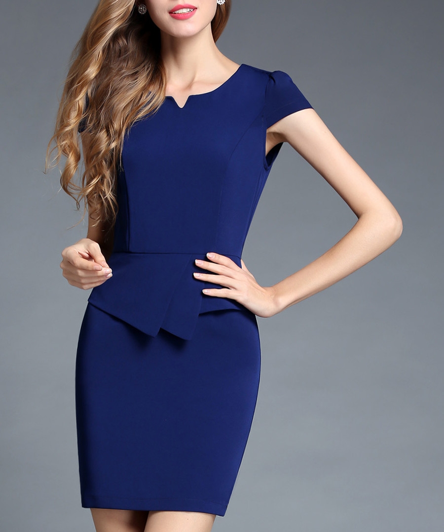 Navy blue short sleeve dress  Sale - ssxr
