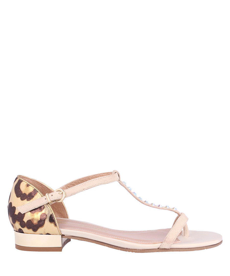 Pink leather print T-bar sandals Sale - roberto botella