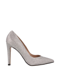 Silver leather pointed stiletto heels