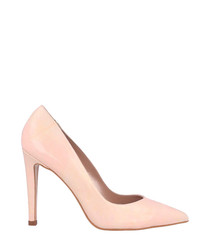 Pink leather pointed stiletto heels