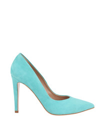 Blue suede pointed stiletto heels