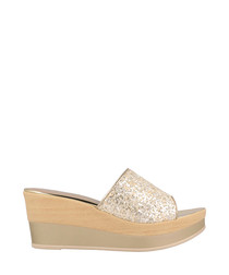 Gold & beige textured wedges