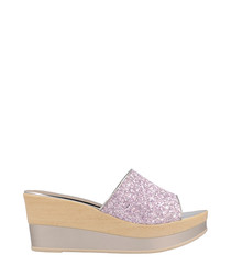 Pink & beige textured wedges