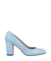 Light blue leather block heels