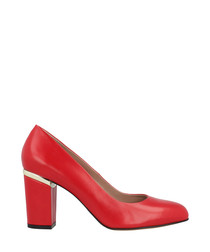 Red leather block heels