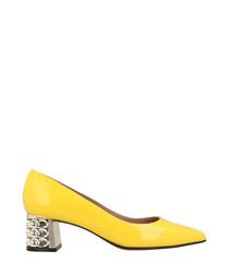 Yellow leather detail block heels