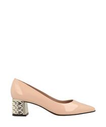 Nude leather detail block heels
