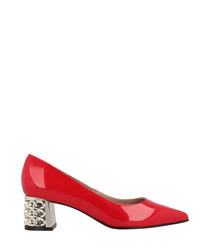 Red leather detail block heels