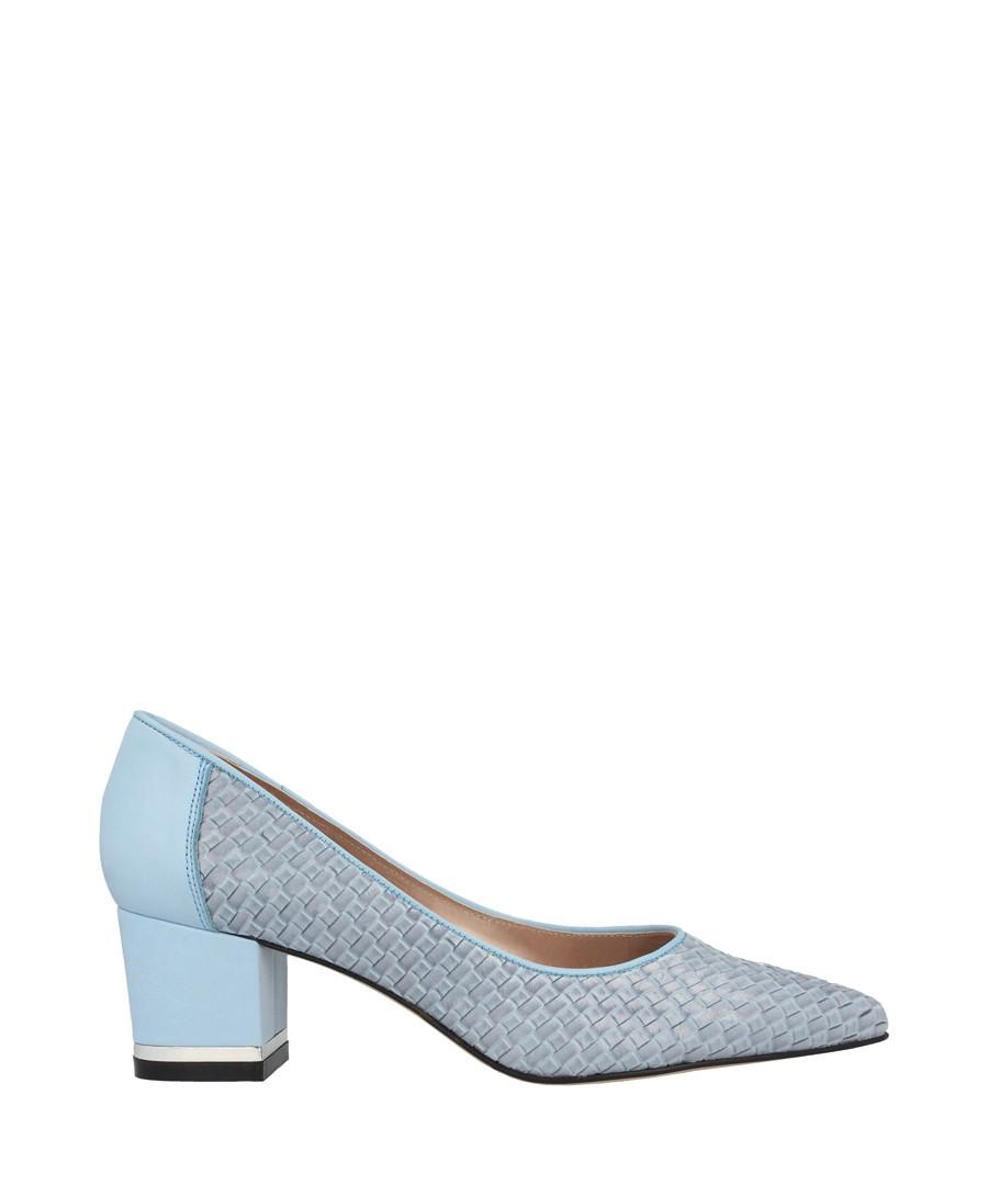 Light blue leather pointed block heels Sale - roberto botella