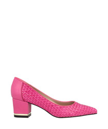 Fuchsia leather pointed block heels