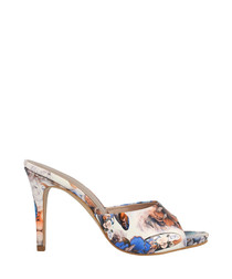 White print heeled mules