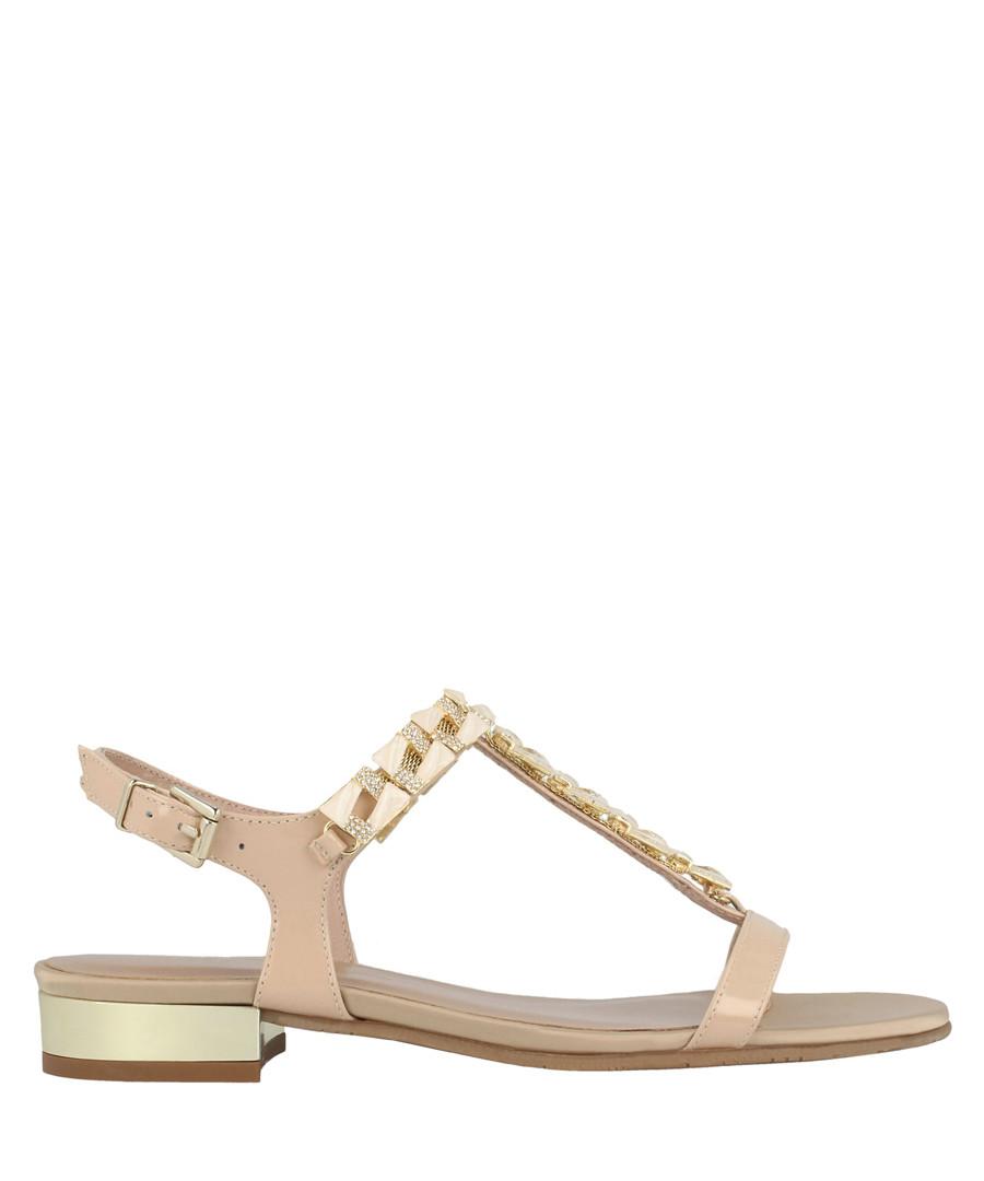 Nude leather embellished sandals Sale - roberto botella
