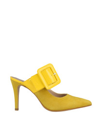 Yellow suede buckle heeled mules