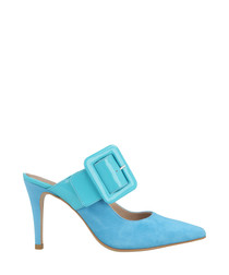 Turquoise suede buckle heeled mules