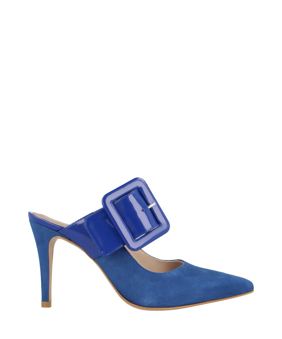 Blue suede buckle heeled mules Sale - roberto botella