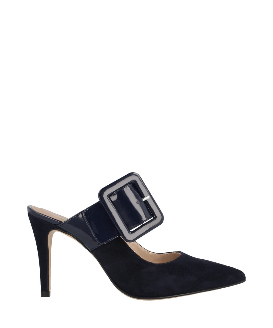 Dark blue suede buckle heeled mules Sale - roberto botella