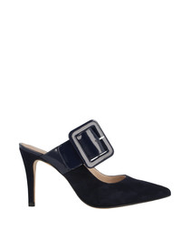 Dark blue suede buckle heeled mules