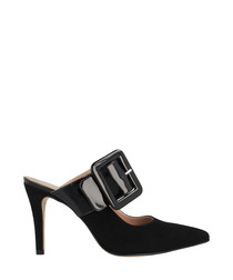 Black suede buckle heeled mules