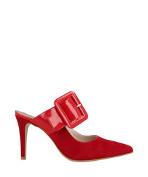Red suede buckle heeled mules