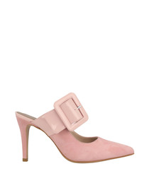 Pink suede buckle heeled mules