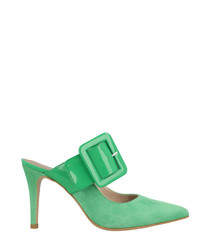 Green suede buckle heeled mules