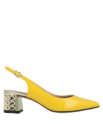 Yellow leather slingback sandals