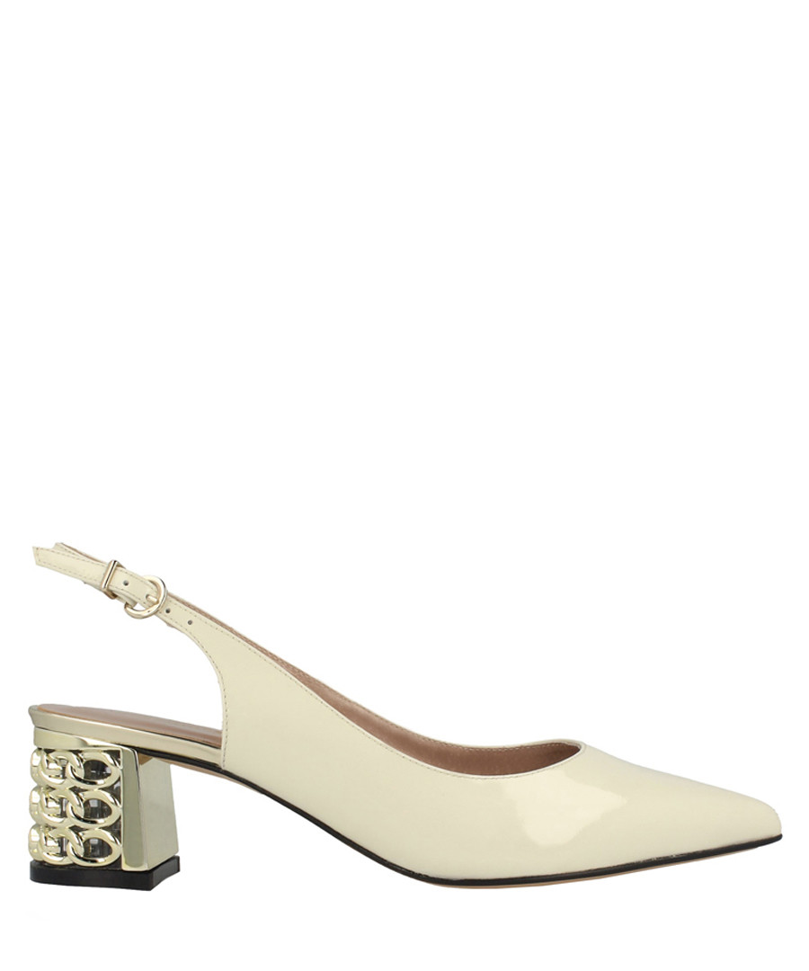 Cream leather slingback sandals Sale - roberto botella