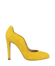 Yellow suede curve stiletto heels