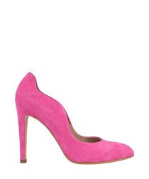 Pink suede curve stiletto heels