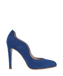 Blue suede curve stiletto heels